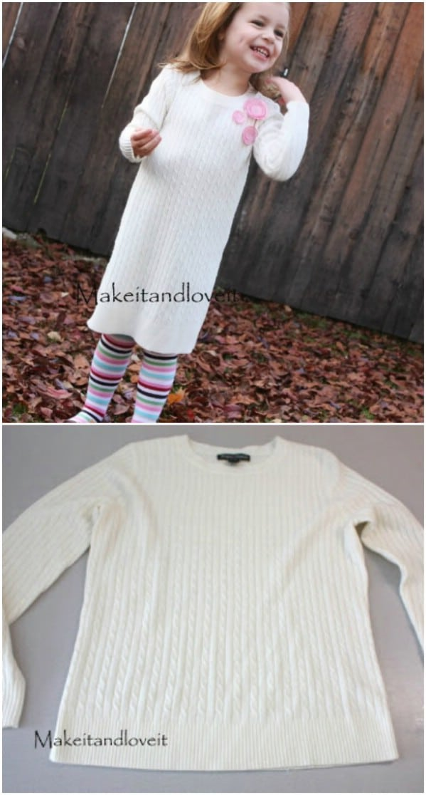 Adult Sweater Into Girl's Sweater Dress
