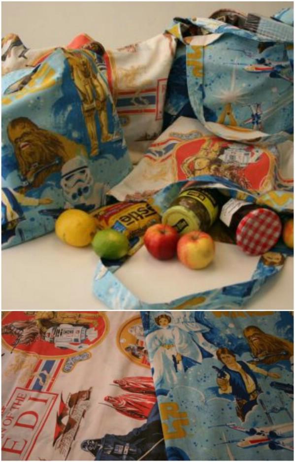 Repurposed Sheet Reusable Shopping Bag