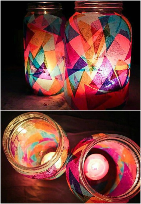 Tissue Paper Jar Lanterns