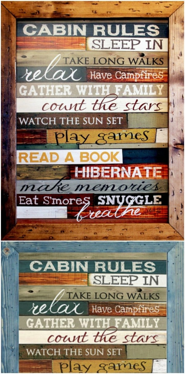 Wooden Colorful Cabin Rules Sign