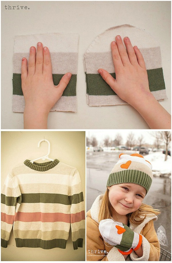 DIY Hats And Mittens From Upcycled Sweater