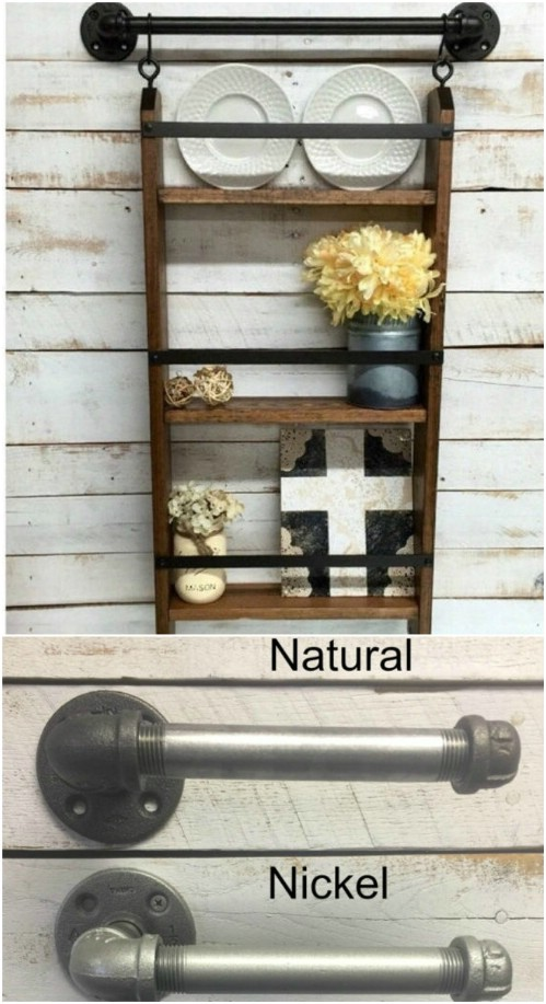 Rustic Ladder Plate Rack