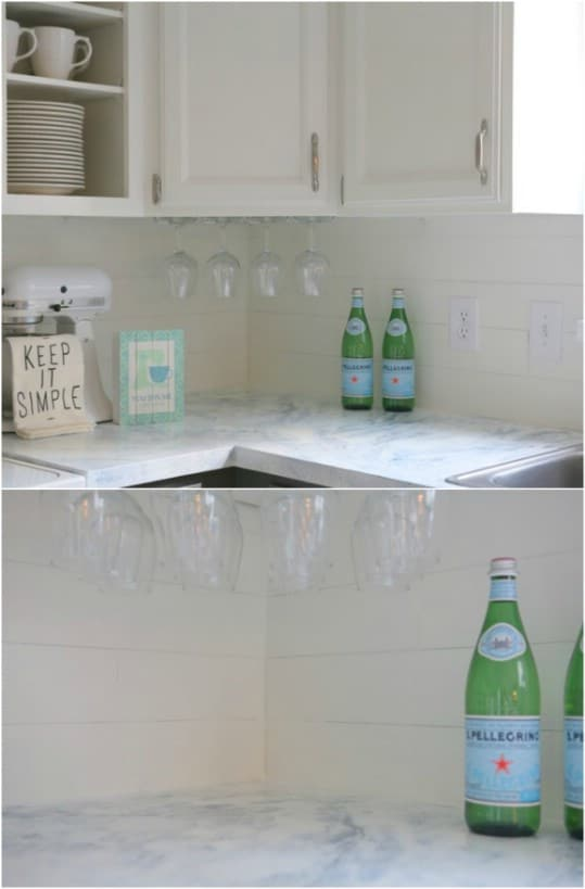 Faux Shiplap Kitchen Backsplash
