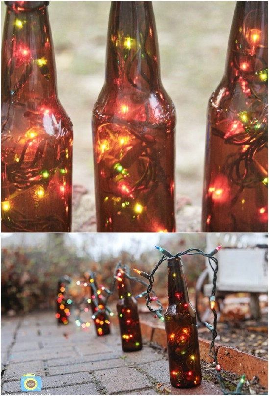 Upcycled Beer Bottle Garden Lights
