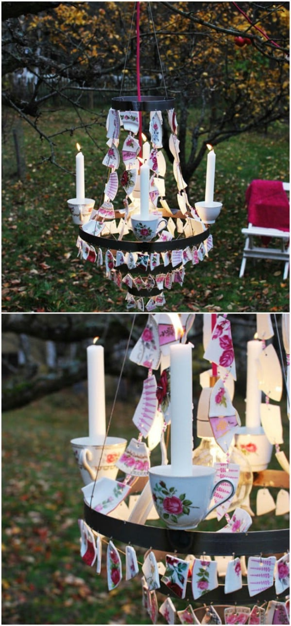 DIY Backyard Chandelier