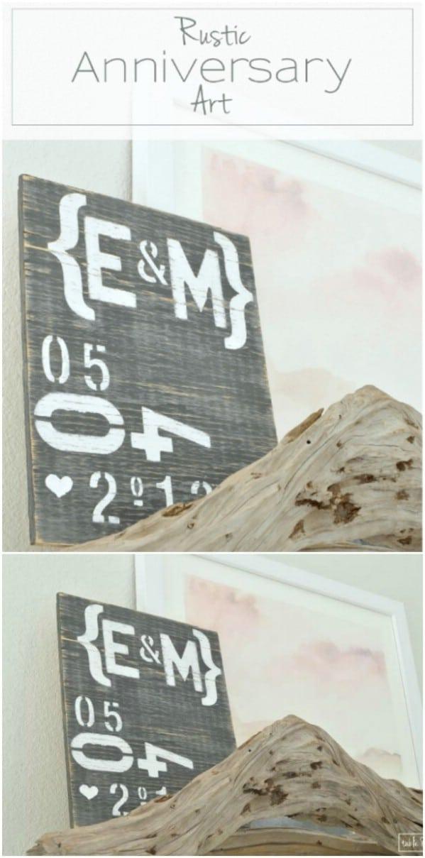 DIY Rustic Anniversary Wood Sign