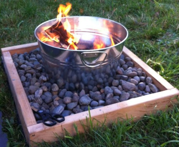 Metal Bucket Fire Pit