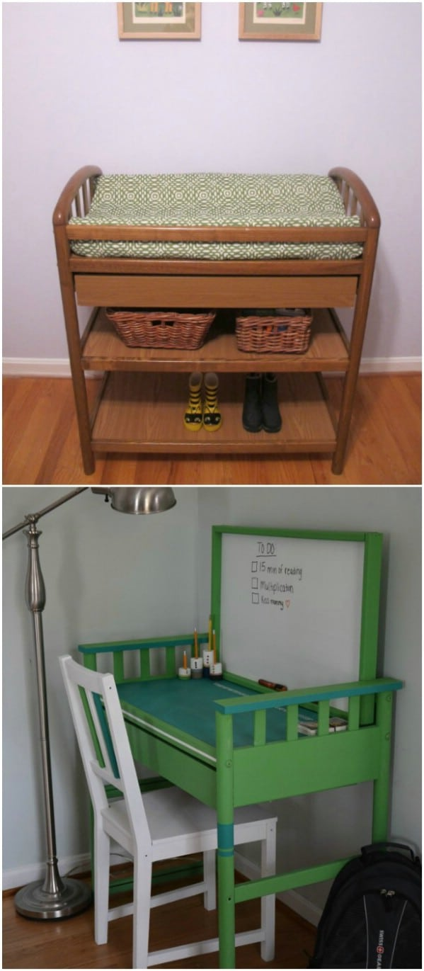 Changing Table Into Desk Repurpose
