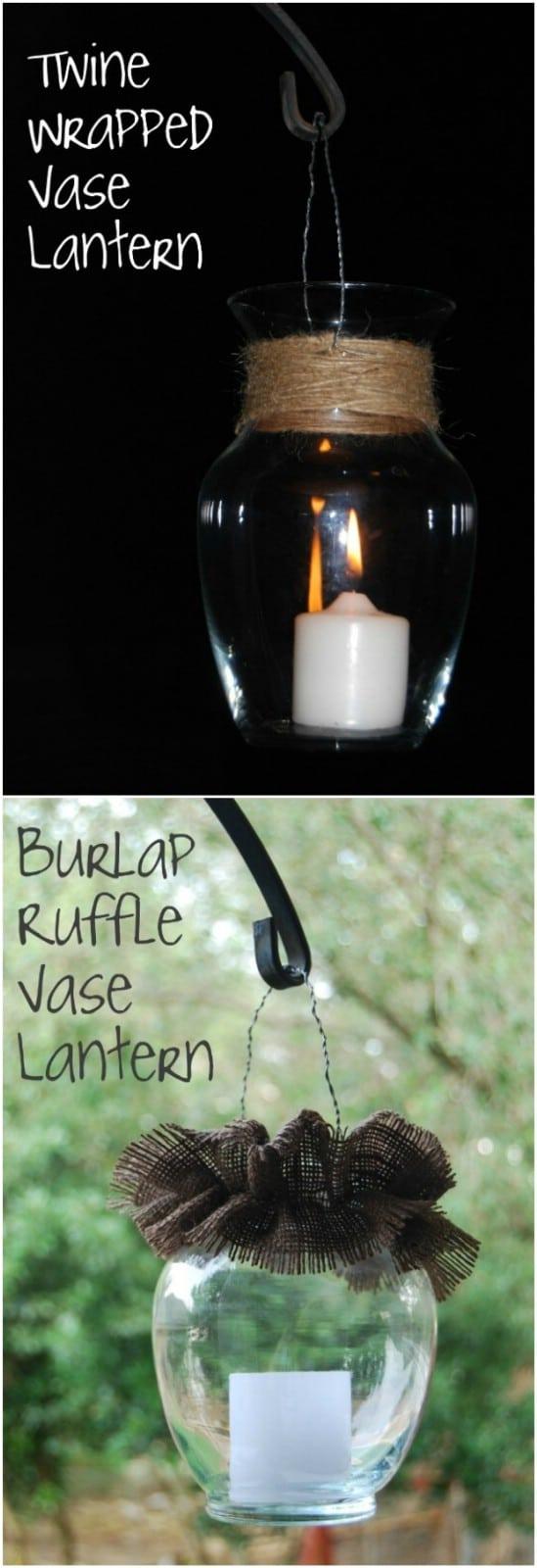 Burlap Ruffle Base Lantern