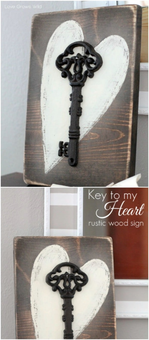 DIY Rustic Key To My Heart Sign