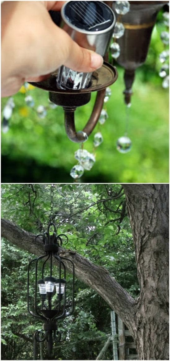 Upcycled Solar Outdoor Chandelier