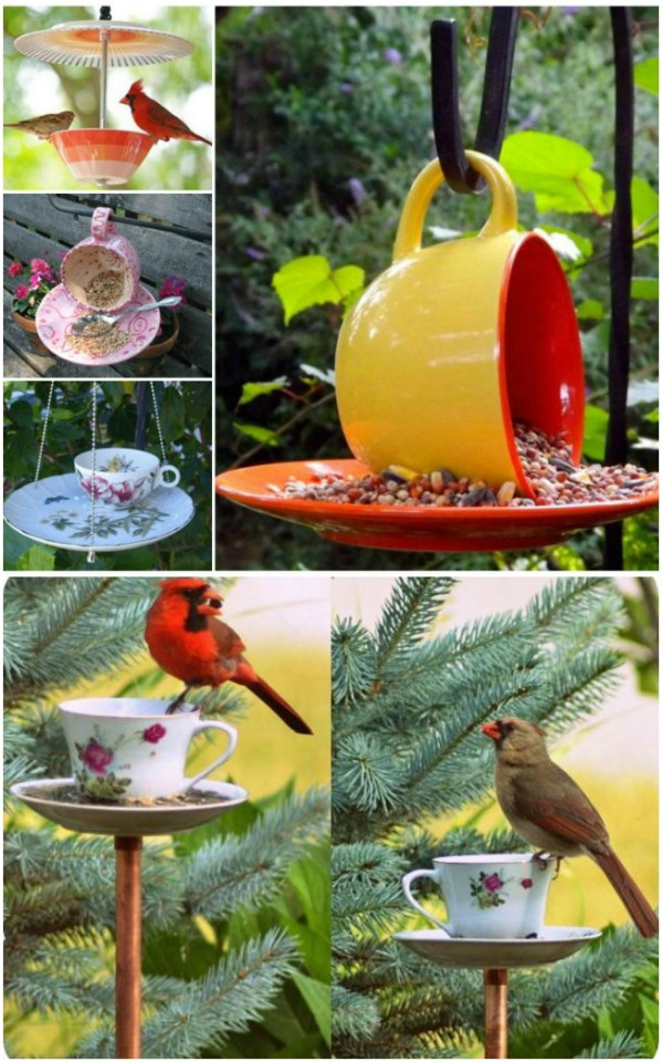 Repurposed Teacup Bird Feeder