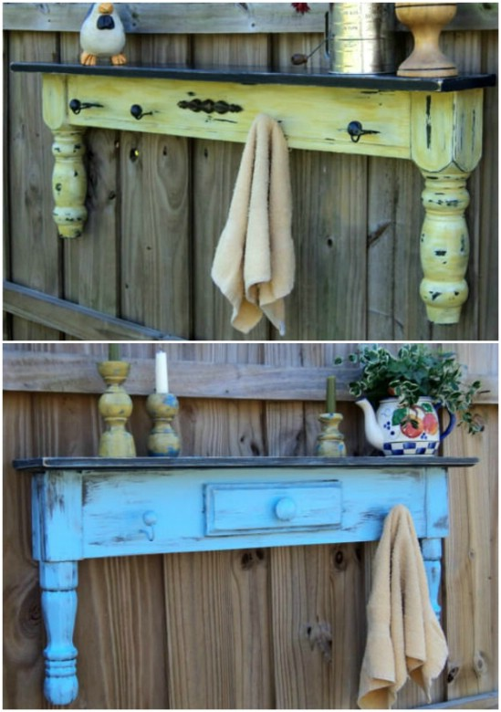Recycled Coffee Table Garden Shelves
