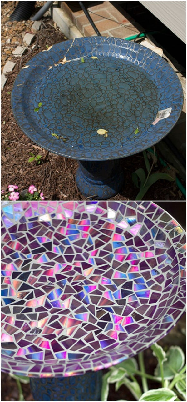 Repurposed Broken China Birdbath