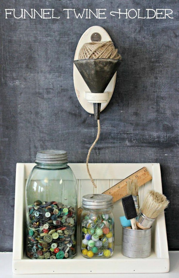 Upcycled Funnel Twine Holder