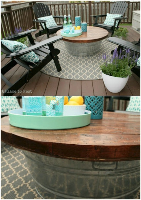 Galvanized Bucket Turned Coffee Table