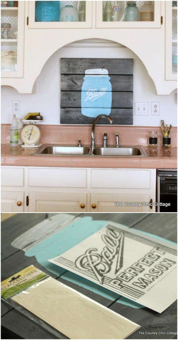 Easy DIY Mason Jar Pallet Sign