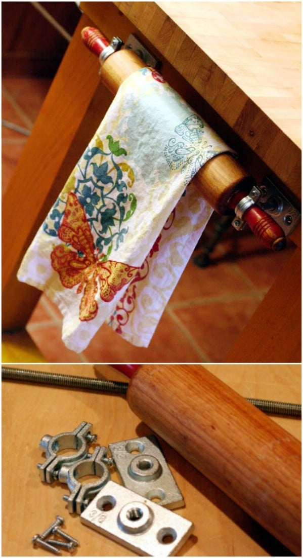 Vintage Rolling Pin Towel Rack