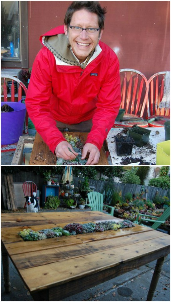 DIY Succulent Planter Pallet Table
