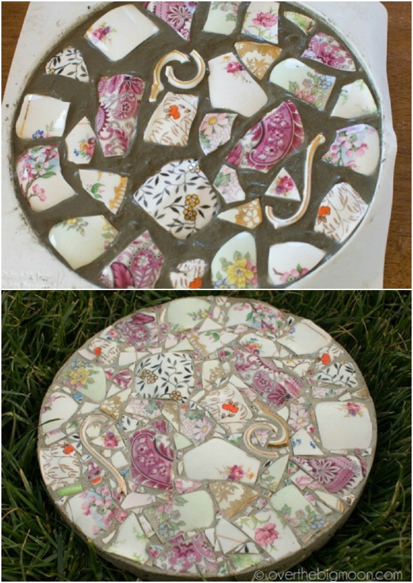 DIY Stepping Stones From Broken Dishes