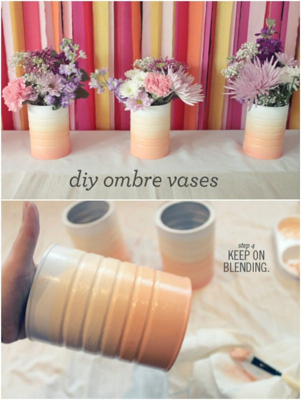 Upcycled Coffee Can Ombre Vase