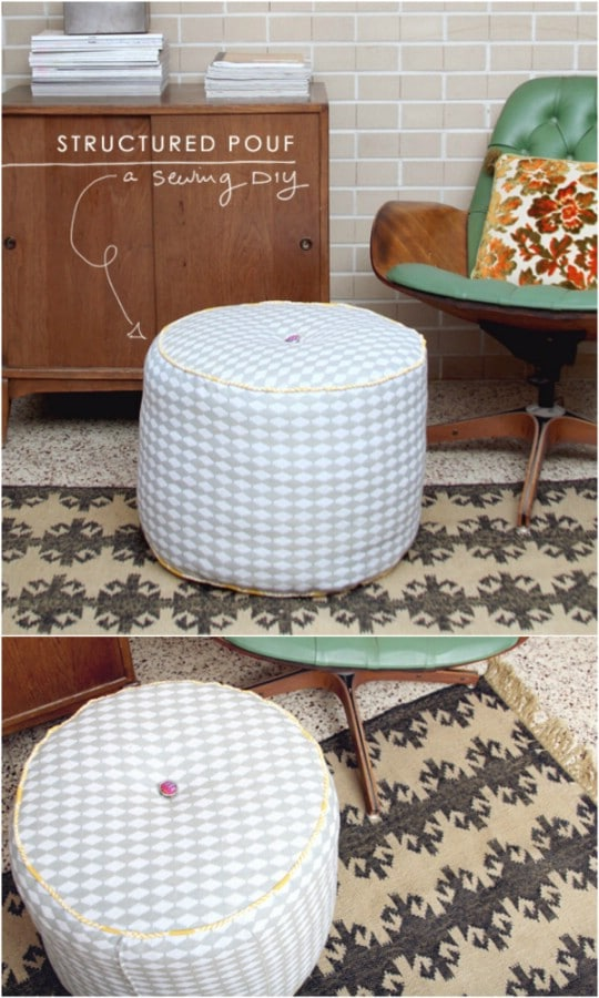 DIY Structured Poof Footstool