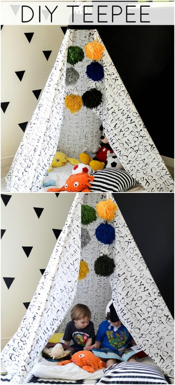 DIY Repurposed Sheet Teepee