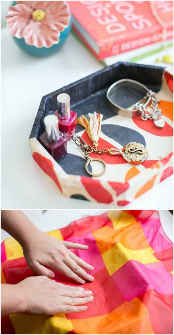 DIY Upcycled Scarf Jewelry Tray