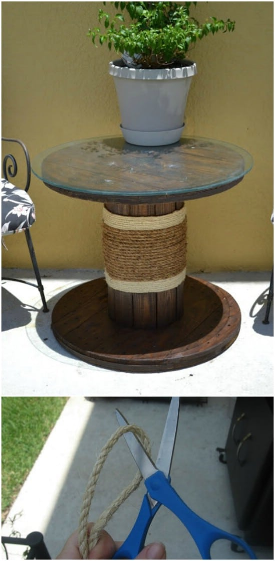 Repurposed Spool Side Table