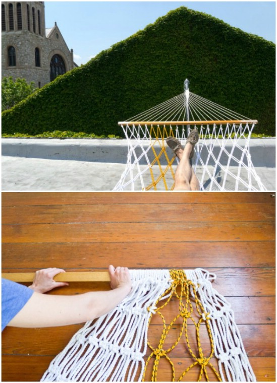 DIY Two Toned Rope Hammock