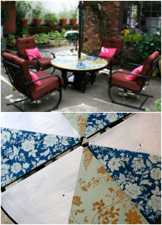 DIY Patio Lounge Table With Umbrella