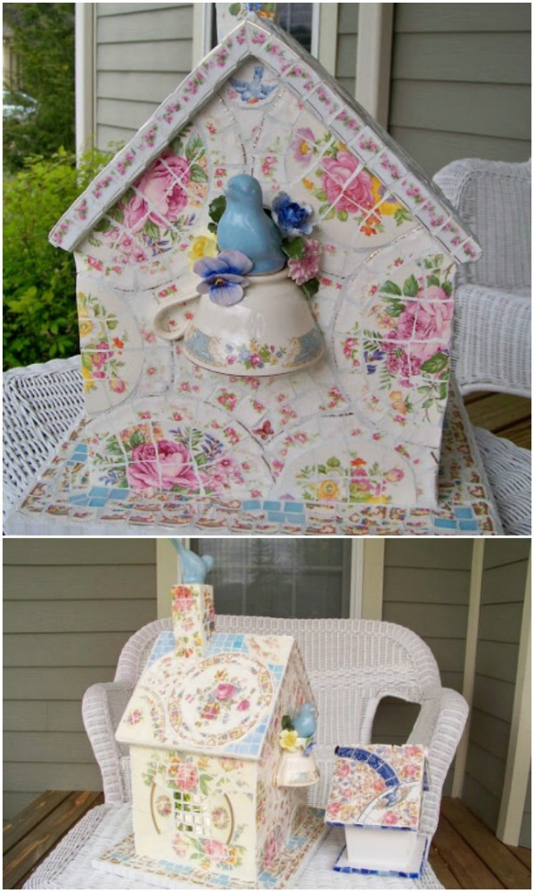 DIY Mosaic Birdhouse From Broken China
