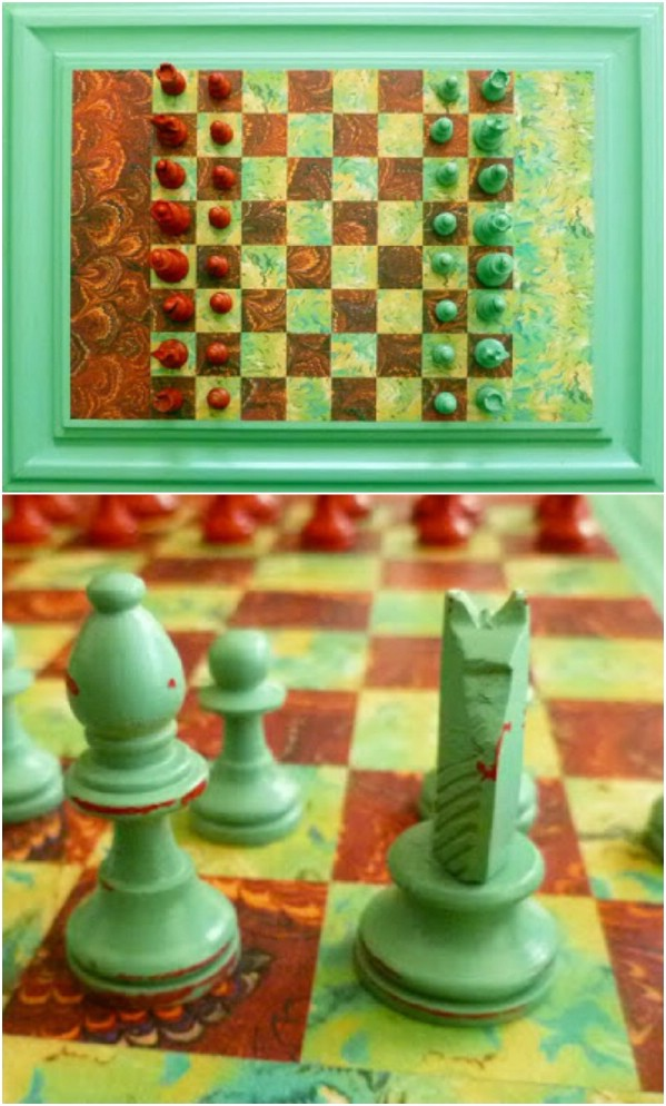 Repurposed Cabinet Door Chess Board