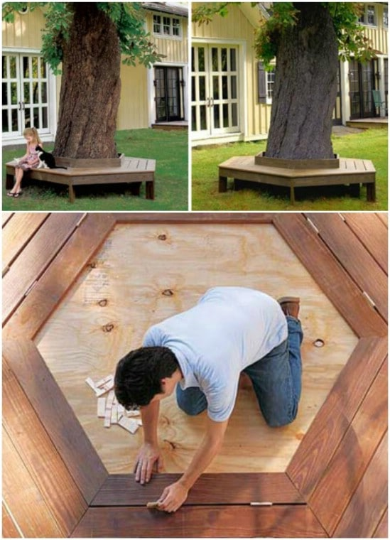 Easy DIY Tree Bench