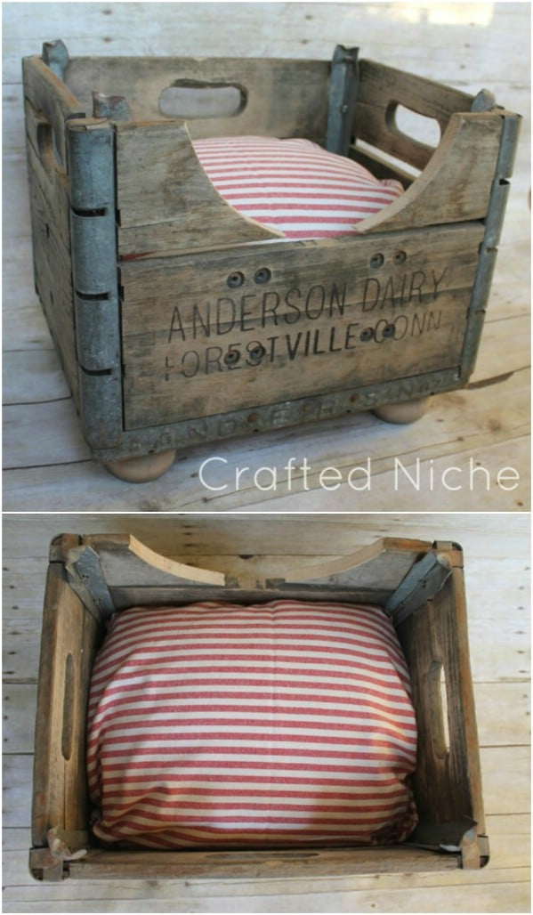 DIY Milk Crate Dog Bed