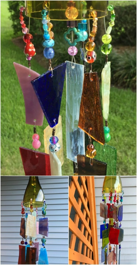 Upcycled Stained Glass Sun Catcher Wind Chime