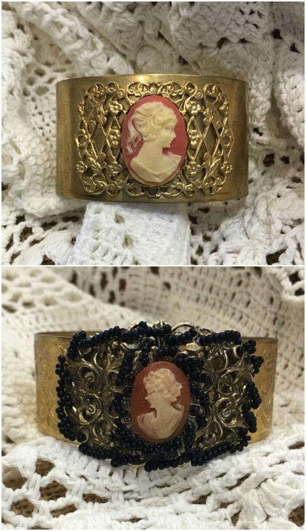 Vintage Cameo Cuff Bracelet