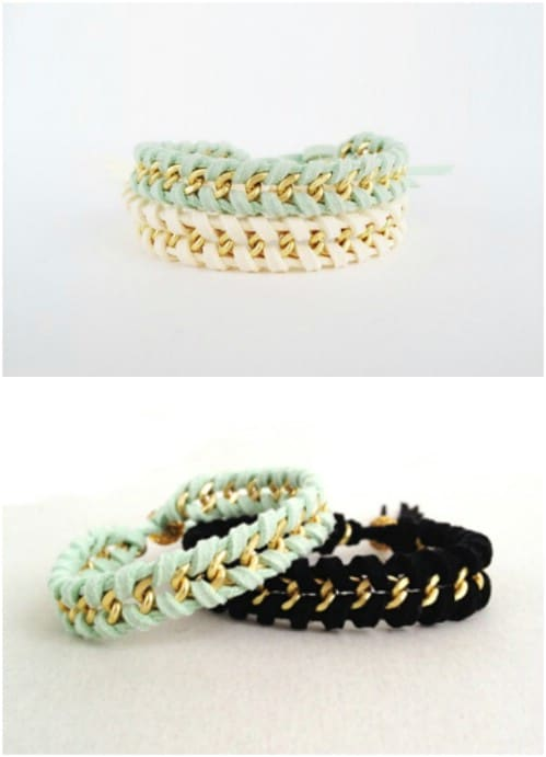 DIY Summer Braided Chain Bracelets