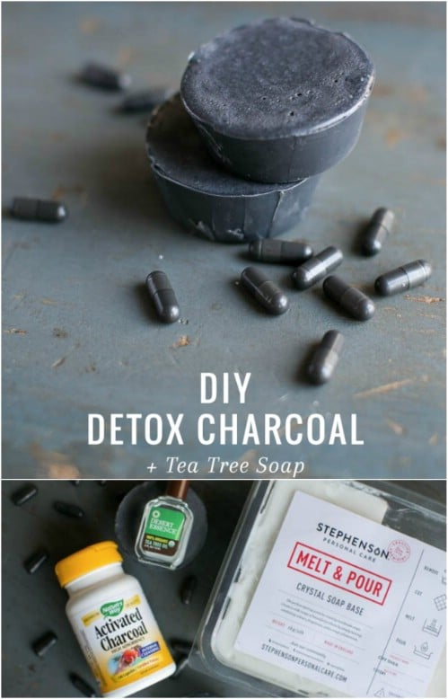 Homemade Detox Charcoal And Green Tea Soap