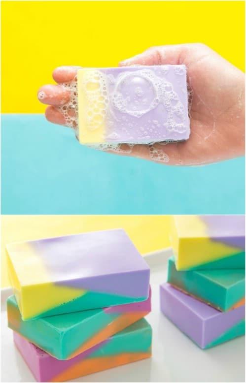 Homemade Color Block Soap