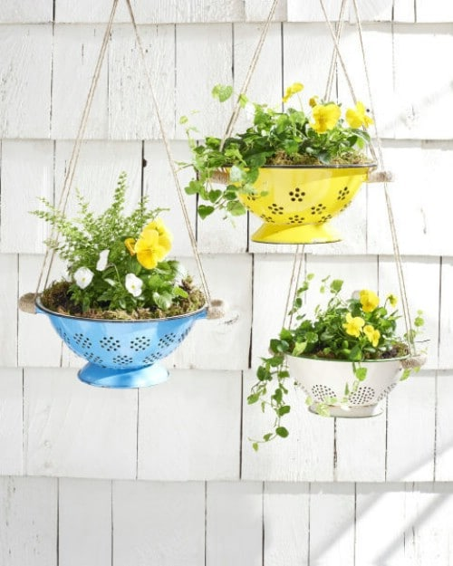 Colorful Colander Hanging Planters