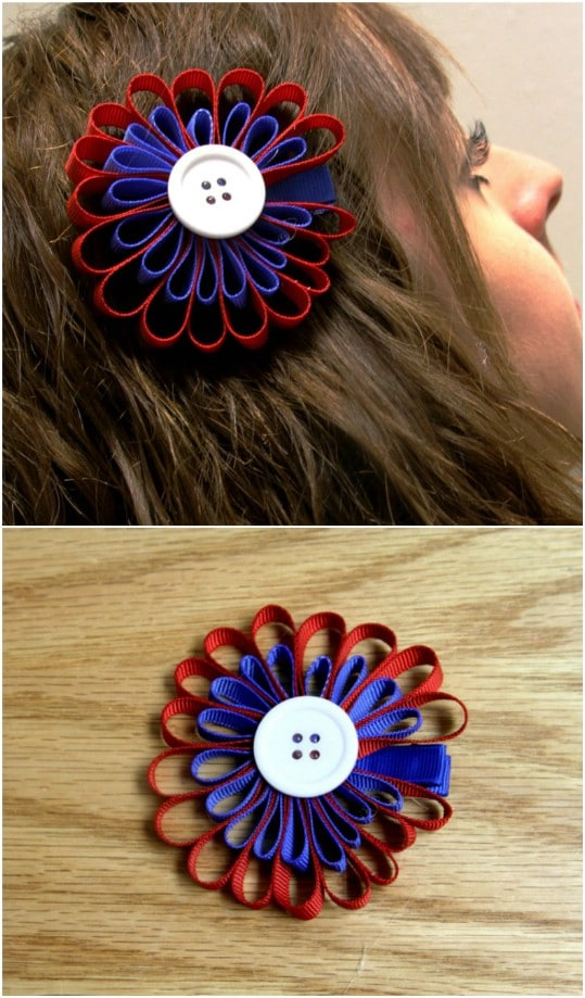 DIY Grosgrain Red, White and Blue Hair Bow