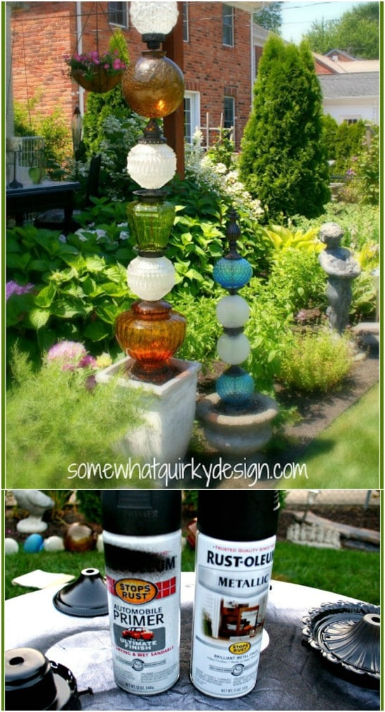 Glass Lamp Base Garden Posts