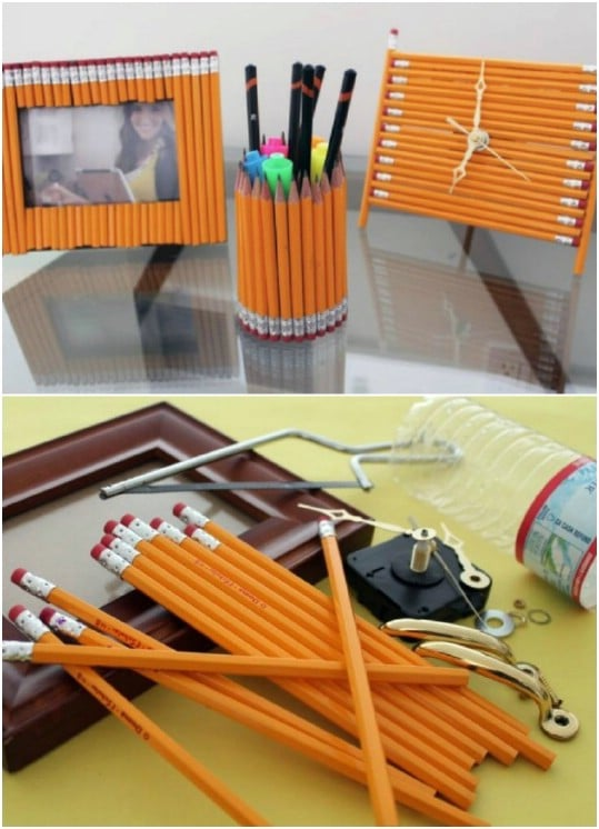 Repurposed Pencil Desk Accessories