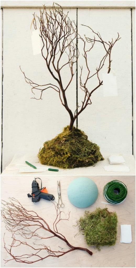 Homemade Rustic Wedding Wish Tree