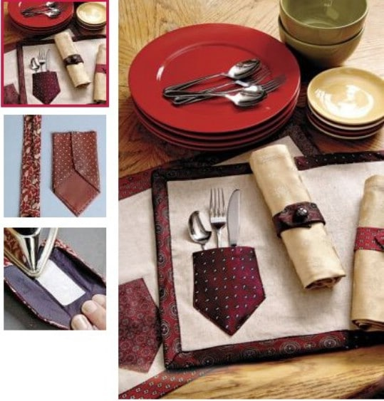 Repurposed Necktie Placemats And Napkin Rings