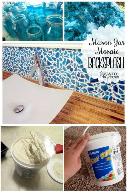Mason Jar Mosaic Backsplash