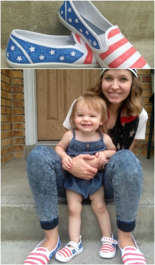 Adorable Mommy And Me Patriotic Shoes