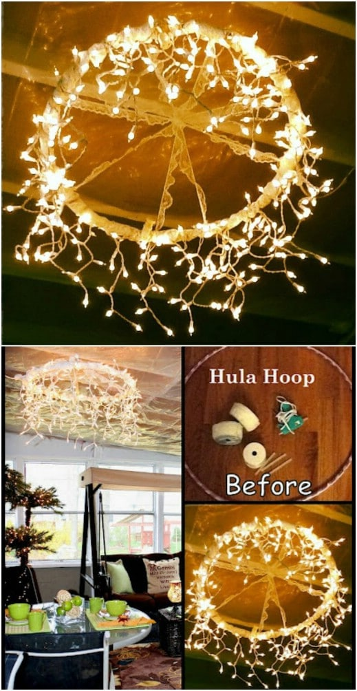 Lighted Hula Hoop Chandelier