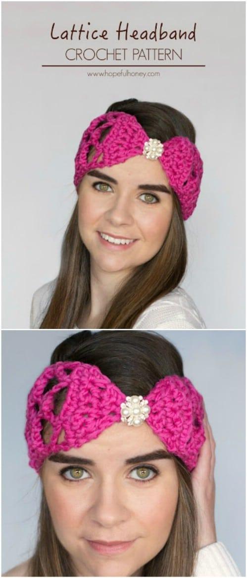 Lacy Crocheted Lattice Look Headband